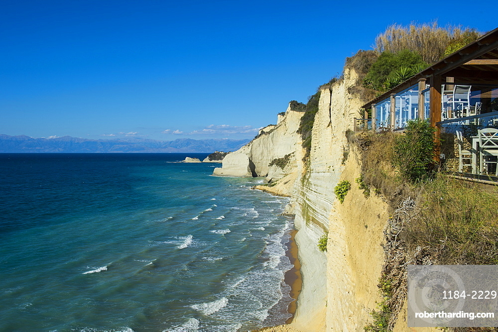 Loggas beach cliff, Corfu, Ionian islands, Greek Islands, Greece, Europe