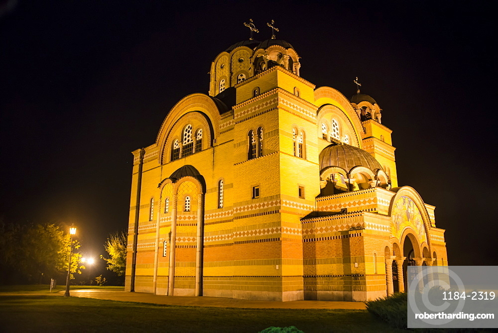 Nightshot of the Orthodox Christian church in Apatin on the danube, Vojvodina province, Serbia