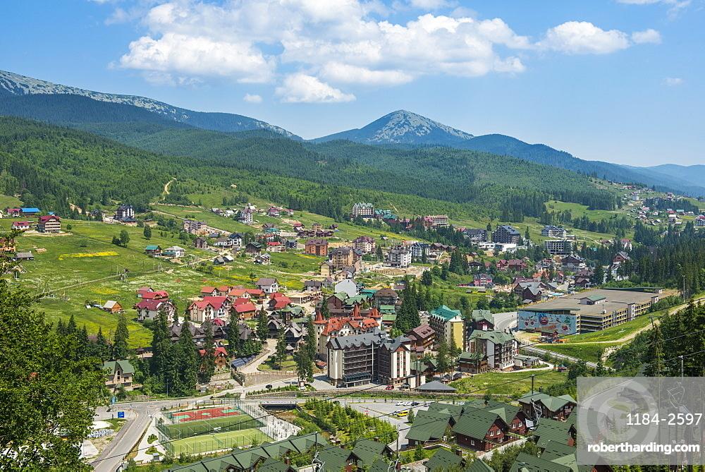 View over the Bukovel ski resort, Carpathian Mountains, Ukraine, Europe