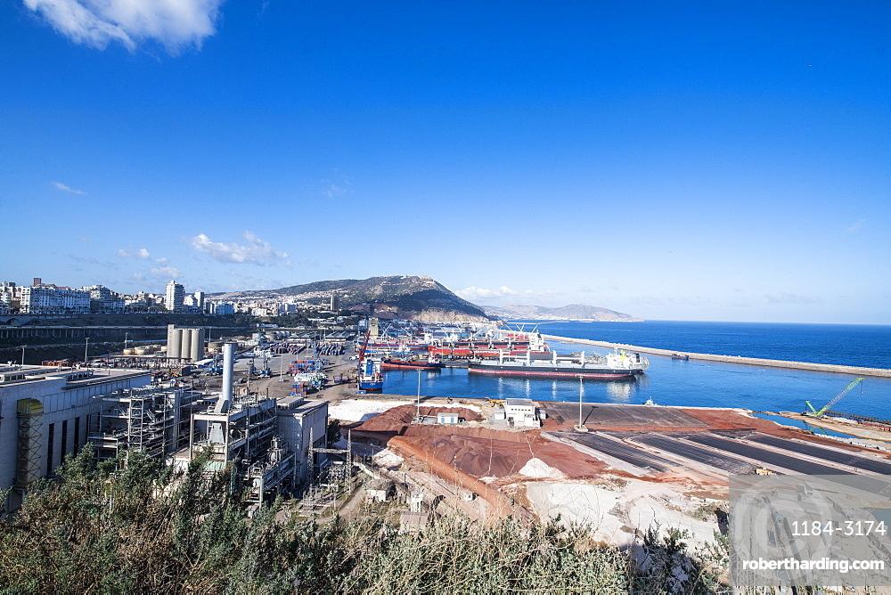 View over the harbour of Oran, Algeria, North Africa, Africa