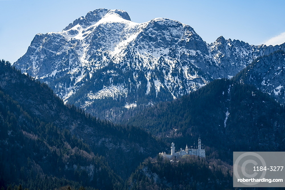 Castle Neuschwanstein, before the Alps, Schwangau Bavaria, Germany