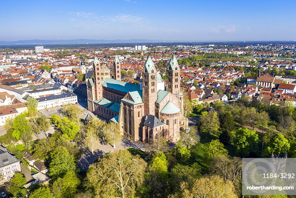 Aerial f the Unesco world heritage sight Speyer Cathedral, Speyer, Germany (drone)