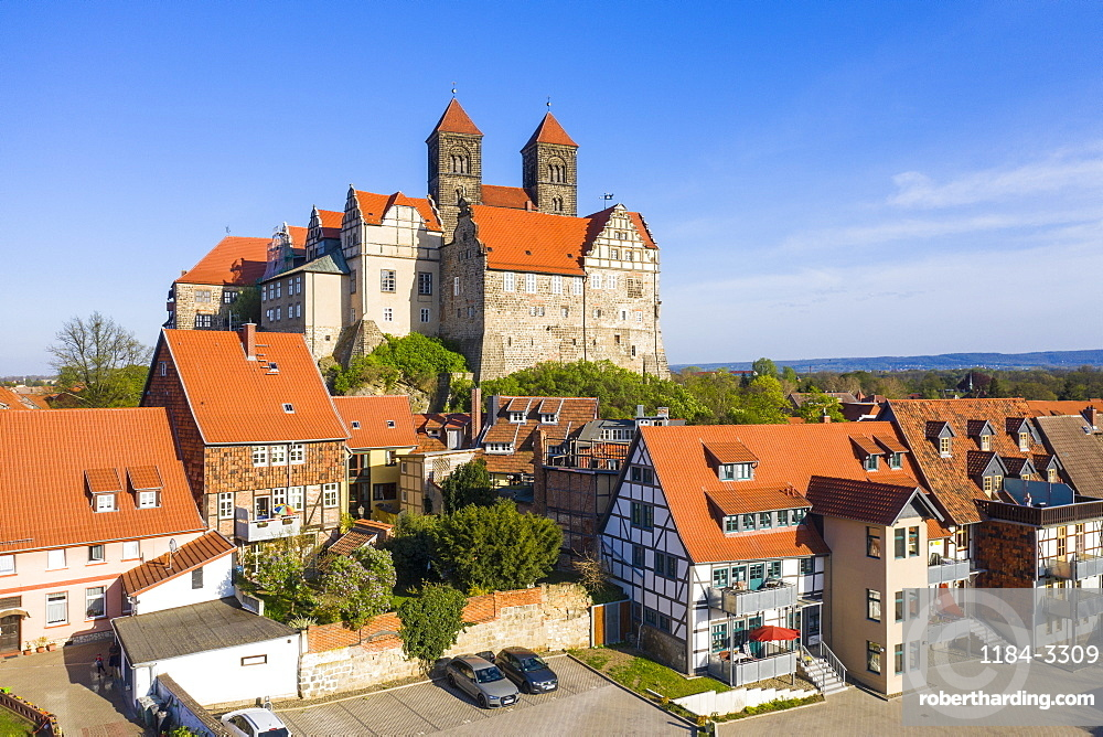 Aerial of the Unesco world heritage sight the town of Quedlinburg, Saxony-Anhalt, Germany (drone)