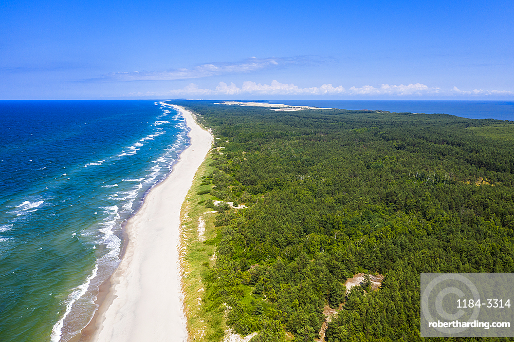 Aerial of the Unesco world heritage sight Curonian Spit National Park, Kaliningrad, Russia (drone)