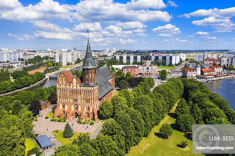 Aerial of Kant's Cathedral, Kant island Kaliningrad, Russia (drone)