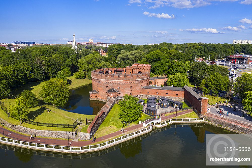 Aerial of the Amber museum set in a fortress tower, Kaliningrad, Russia (drone)