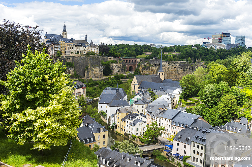 Overlook over the Unesco world heritage sight the old quarter of Luxembourg, Luxembourg