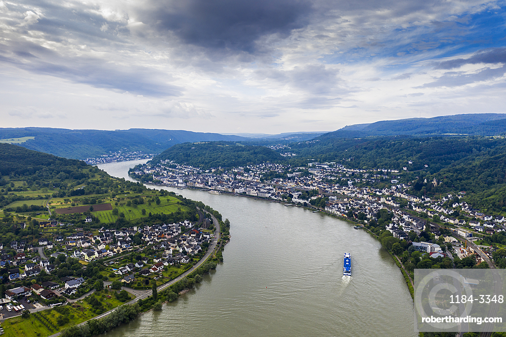 View from the Gedeonseck down to the Rhine at Boppard, Unesco world heritage sight Midle Rhine valley, Germany