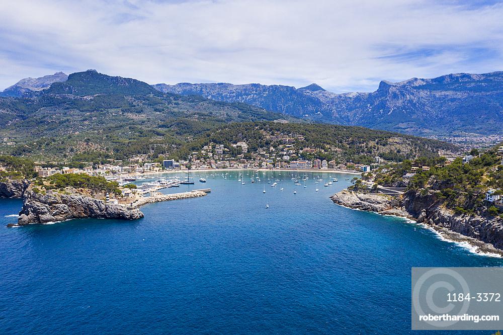 Aerial of Port de Soller, Mallorca, Spain (drone)