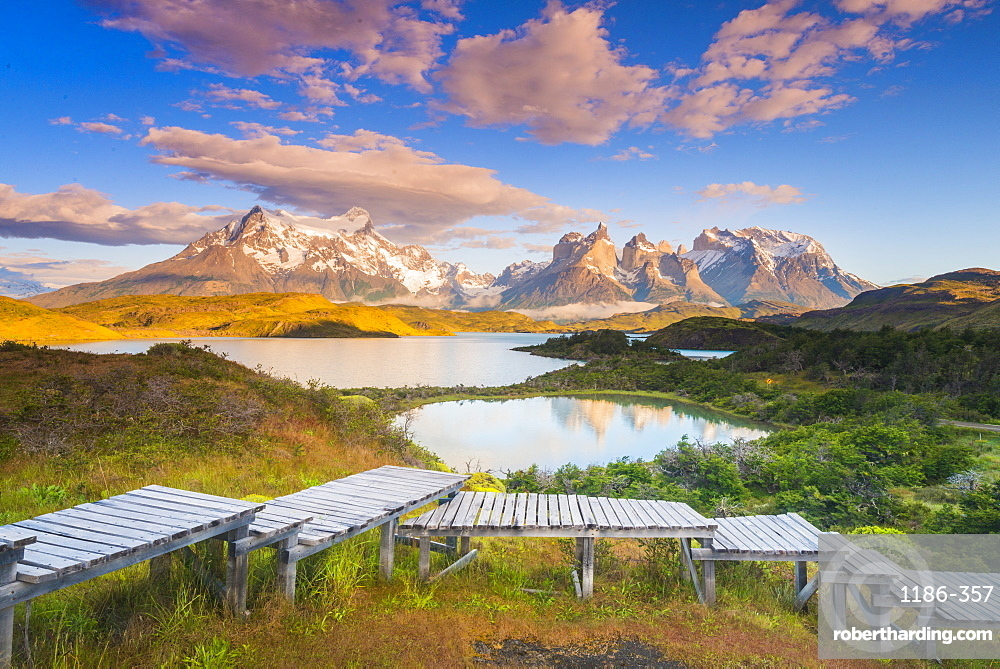 Sunrise over lake Pehoe Torres Del Paine National Park, Patagonia, Chile, South America