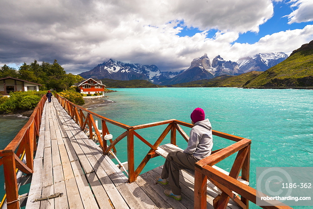 Woman enjoying the view Torres Del Paine National Park, Patagonia, Chile, South America