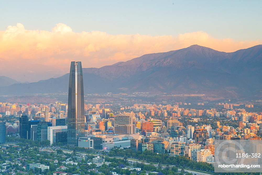 View of the city from Cerro san cristobal Santiago, Chile, South America