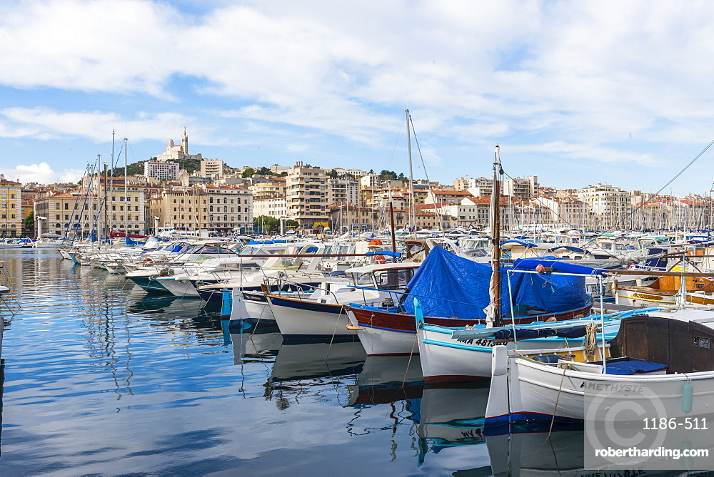 Old port and Notre dame Marseille, Bouches du Rhone, France