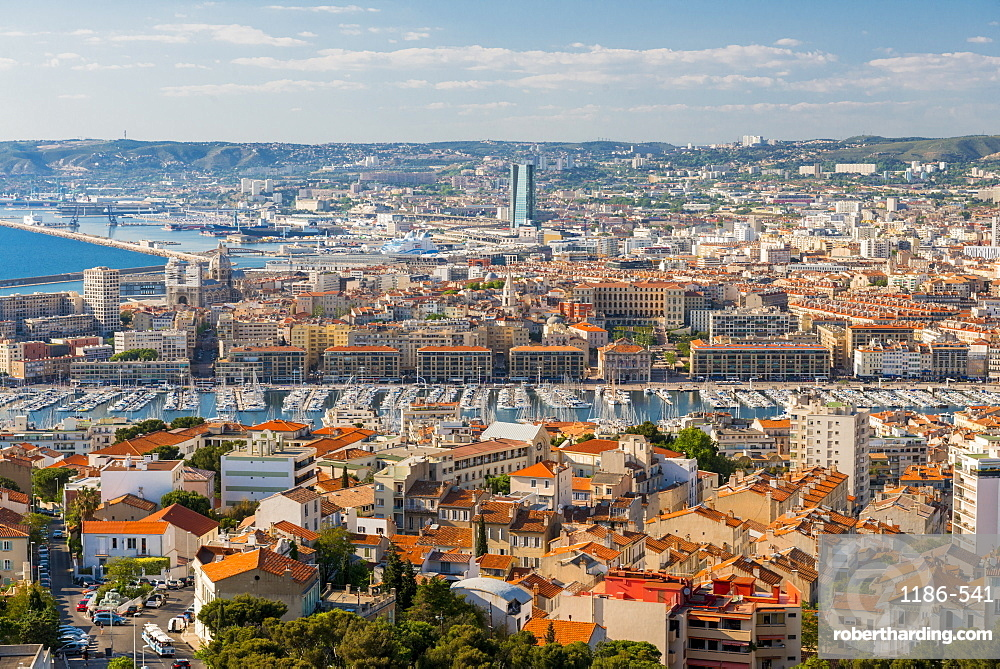 View over the Old port from Notre dame Marseille, Bouches du Rhone, France