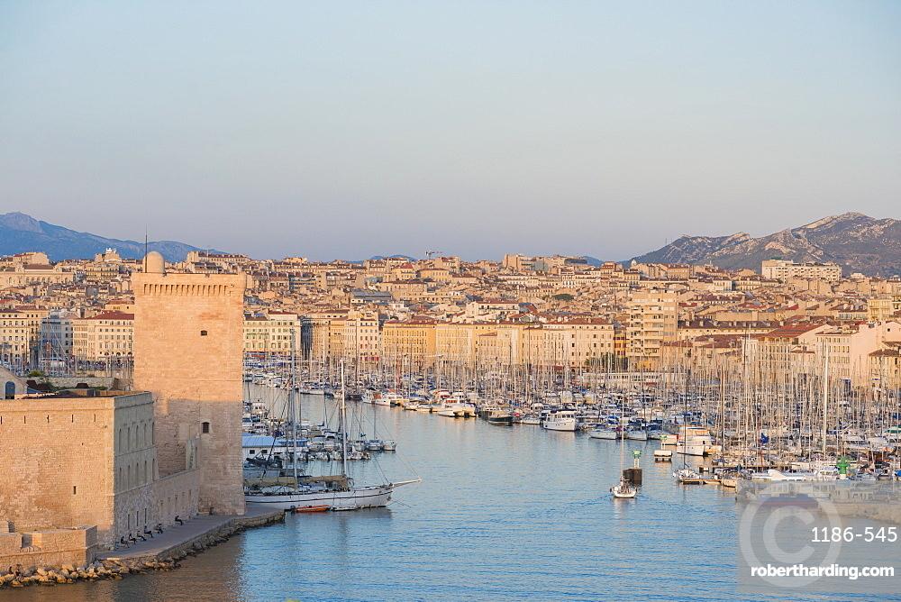 Fort Saint Jean and Marseille harbour, Marseille, Bouches du Rhone, France