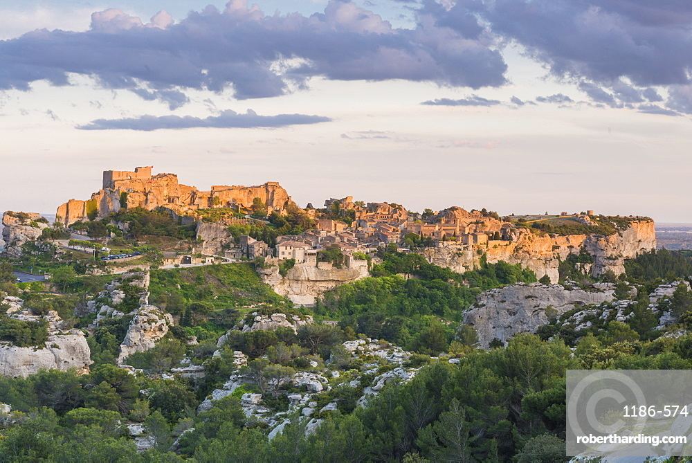view over the valley to Les Baux-de-Provence, Provence, France