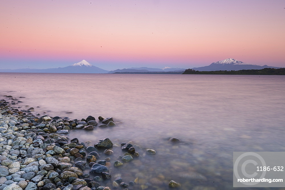Sunset over lake Llanquihue and Volcan Osorno, Puerto Varas, Chilean Lake District, Los Lagos, Chile