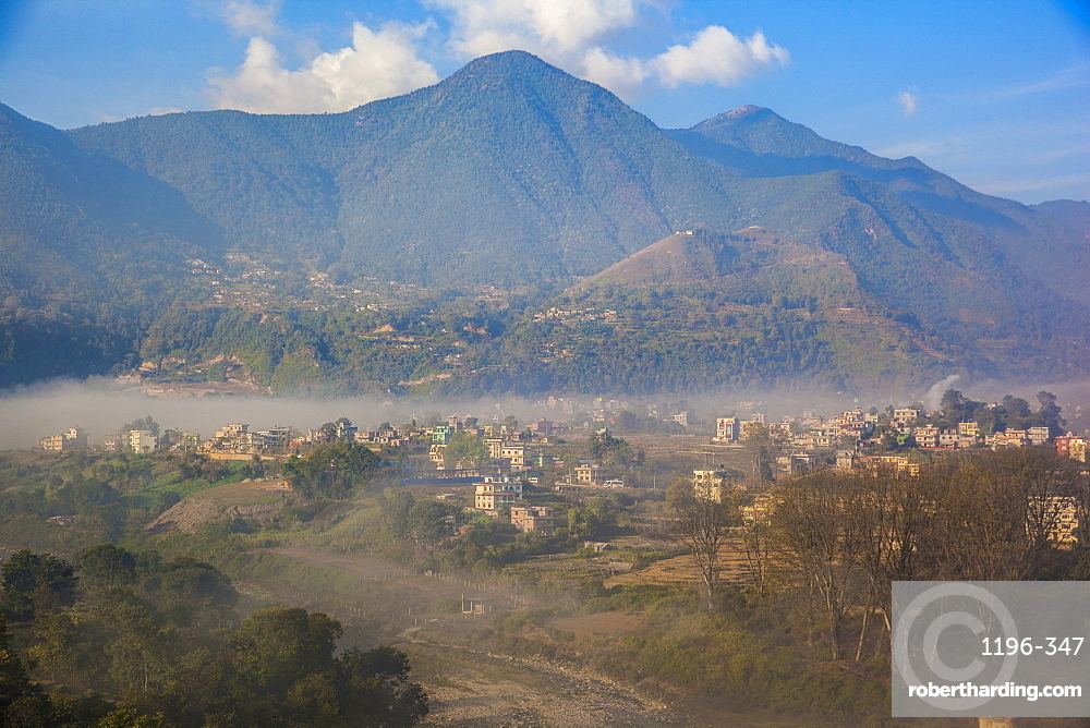 View of Champa Devi, a sacred mountain from Sneha's Care. Bhaisipati. Kathmandu, Nepal.