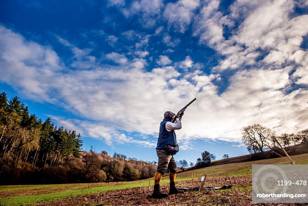 Gun shooting on a pheasant shoot
