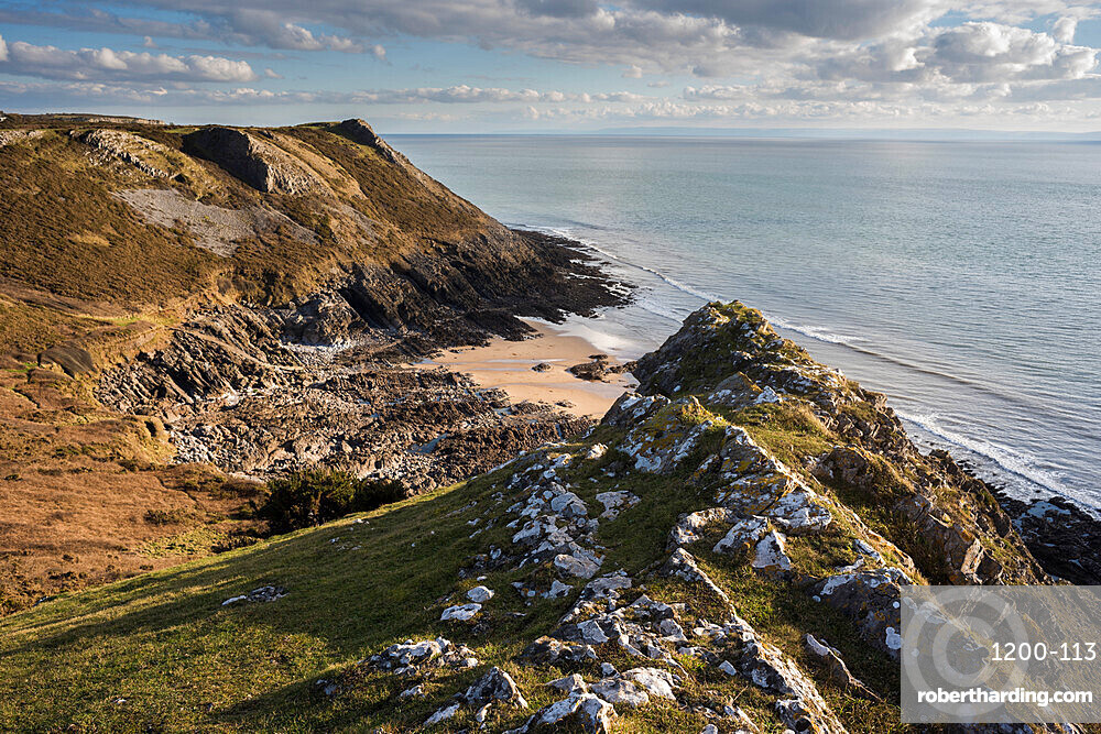 View towards East Cliff Beach, Gower Peninsula, South Wales, United Kingdom, Europe