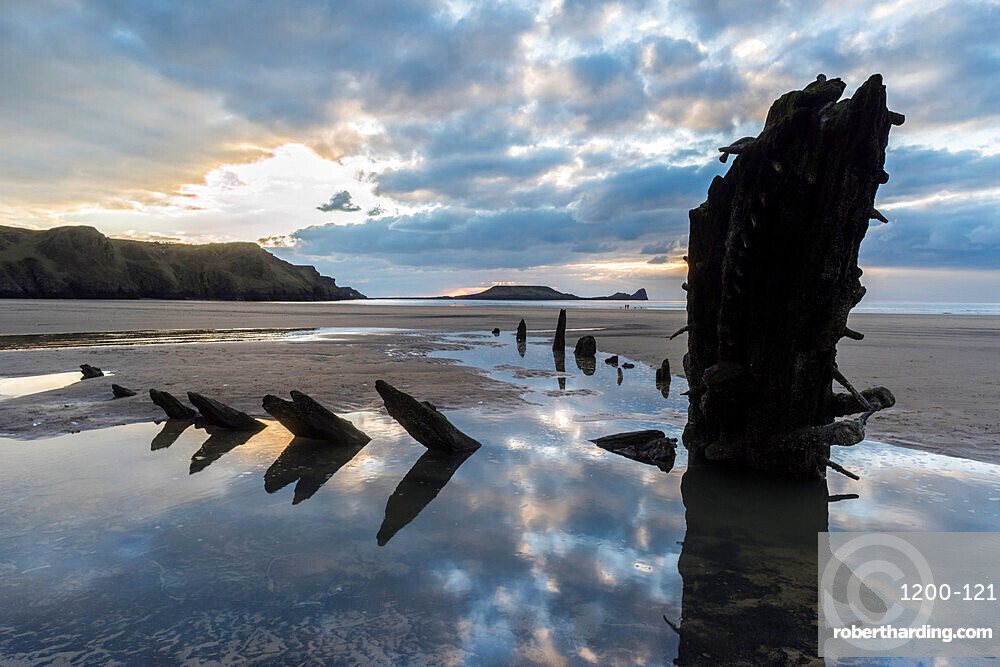 Helvetia shipwreck at low tide, Rhossili Bay, Gower Peninsula, South Wales, United Kingdom, Europe