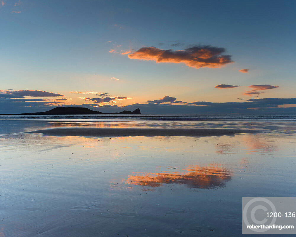 Rhossili Beach at sunset, Gower Peninsula, South Wales, United Kingdom, Europe