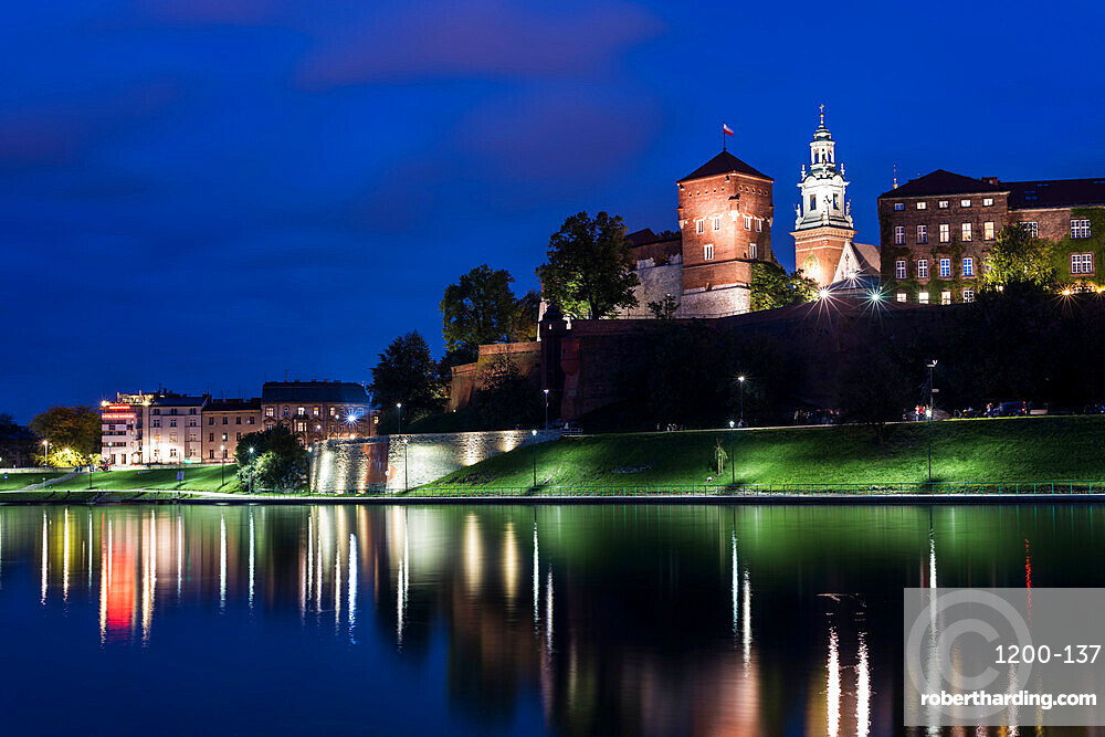 Wawel Castle, UNESCO World Heritage Site, across Vistula River, at night, Krakow, Poland, Europe