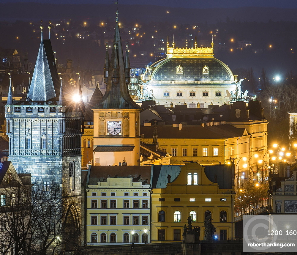 Charles Bridge East Tower and National Theatre at night, Prague, Czech Republic, Europe