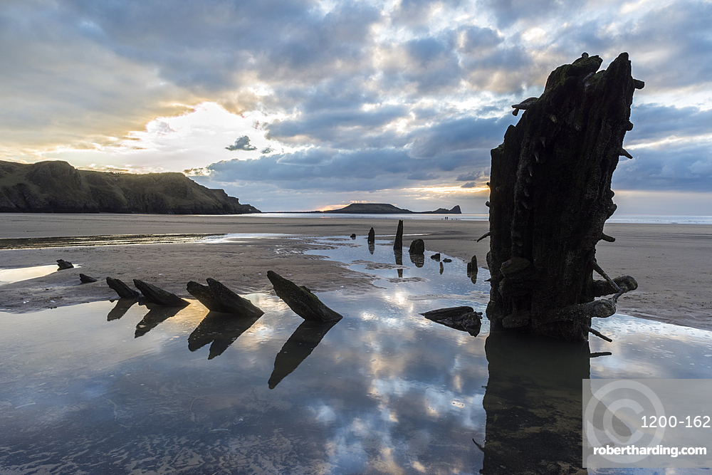 Wreck of the Helvetia, Rhossilli Bay, Gower, South Wales.
