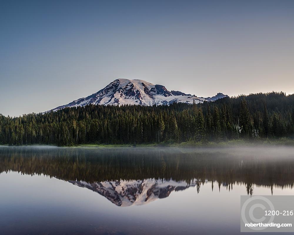 Reflection of Mount ranier at dawn, Reflection Lake, Washington, United States.