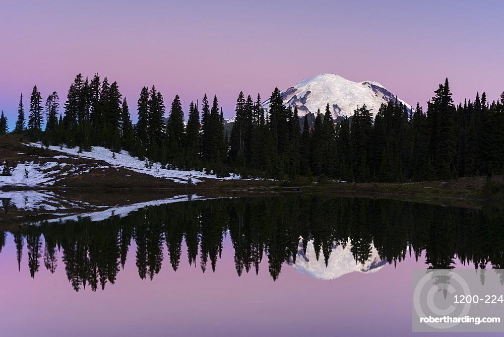 Reflection of Mount Rainier at dawn, Tipsoo Lake, Mount Rainier National Park, Washington State, United States of America, North America
