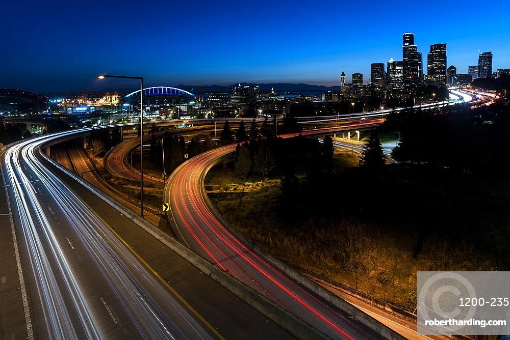 Highways and skyline, Seattle, Washington State, United States of America, North America
