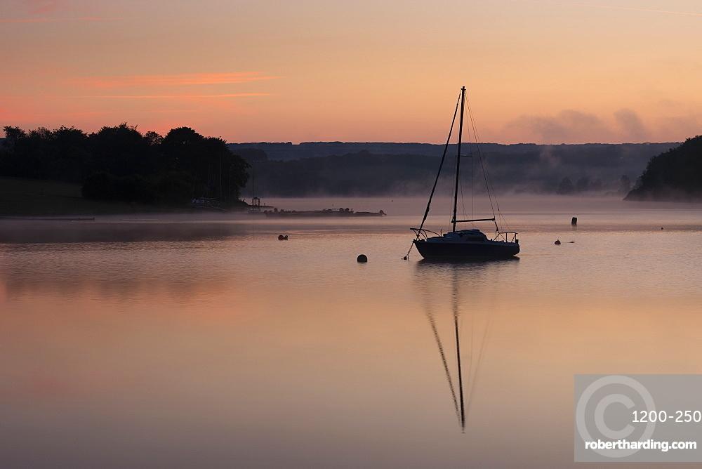 Wimbleball Lake at dawn, Exmoor National Park, Somerset, England.