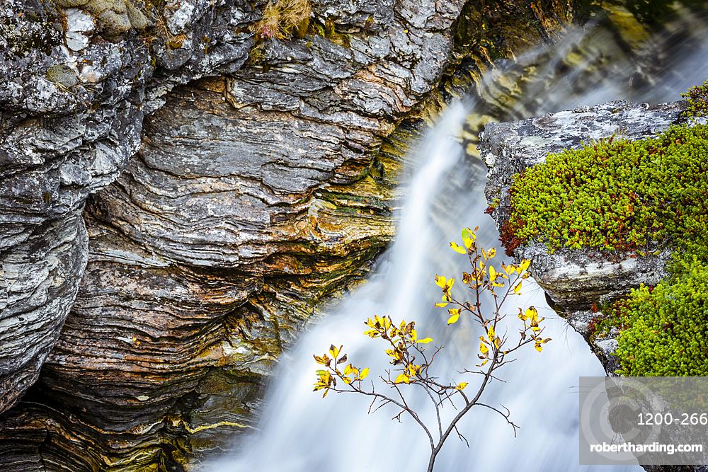 Rocks and waterfall, Kilpisjarvi, Lapland, Finland.