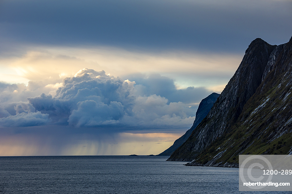 Rain cloud and mountain, Senja, Norway.