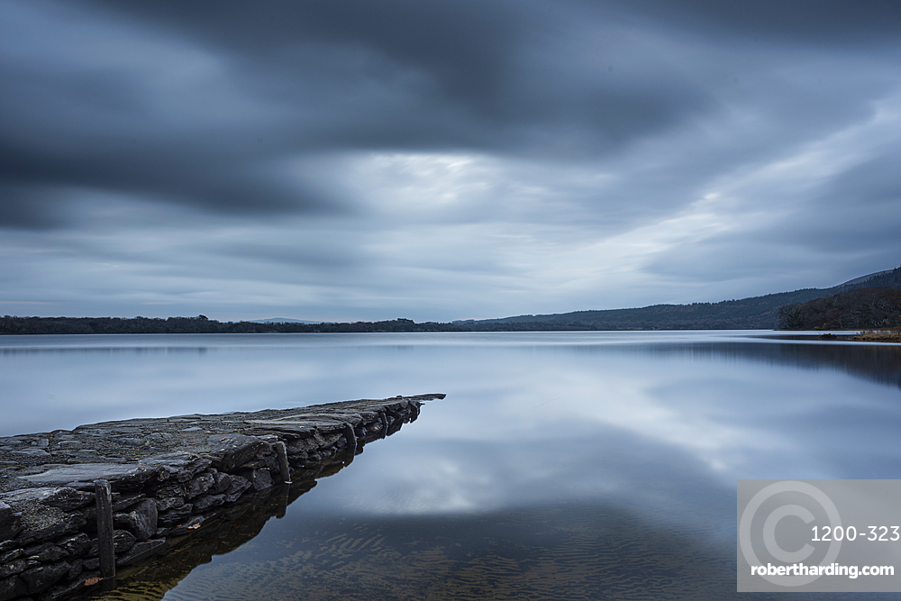 Stone slipway and lake at dawn in autumn, Lough Lenae, Killarney National Park, County Kerry, Munster, Republic of Ireland, Europe