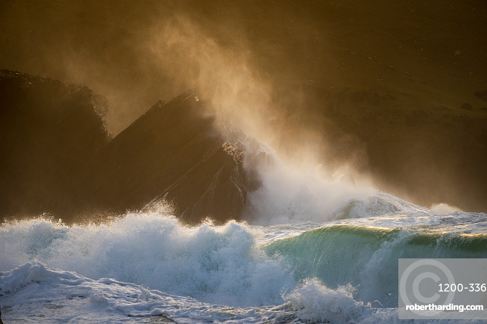 Waves crashing against rocks, Clogher Strand, Dingle Peninsula, Kerry, Republic of Ireland