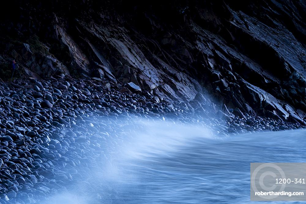 Waves and storm beech at dawn, Minard Beach, Dingle Peninsula, Kerry, Republic of Ireland