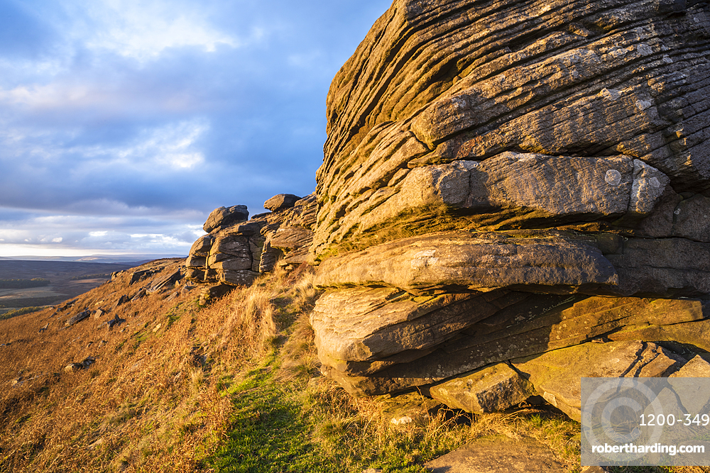 View from Stanage Edge, evening light, Peak District National Park, Derbyshire, England, United Kingdom, Europe