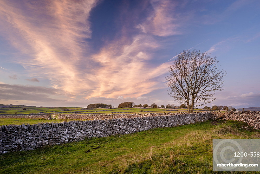 Stonew walls and fields at sunset, Sheldon, Peak District National Park, Derbyshire, autumn.