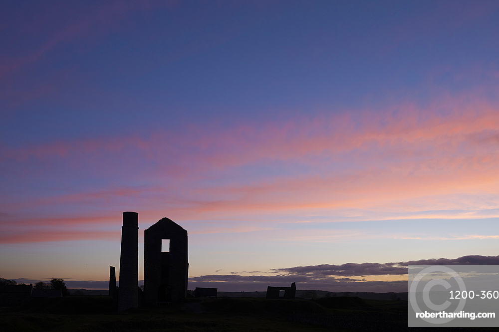 Disused mine at sunset, Magpie Lead Mine, Peak District National Park, Derbyshire, autumn.