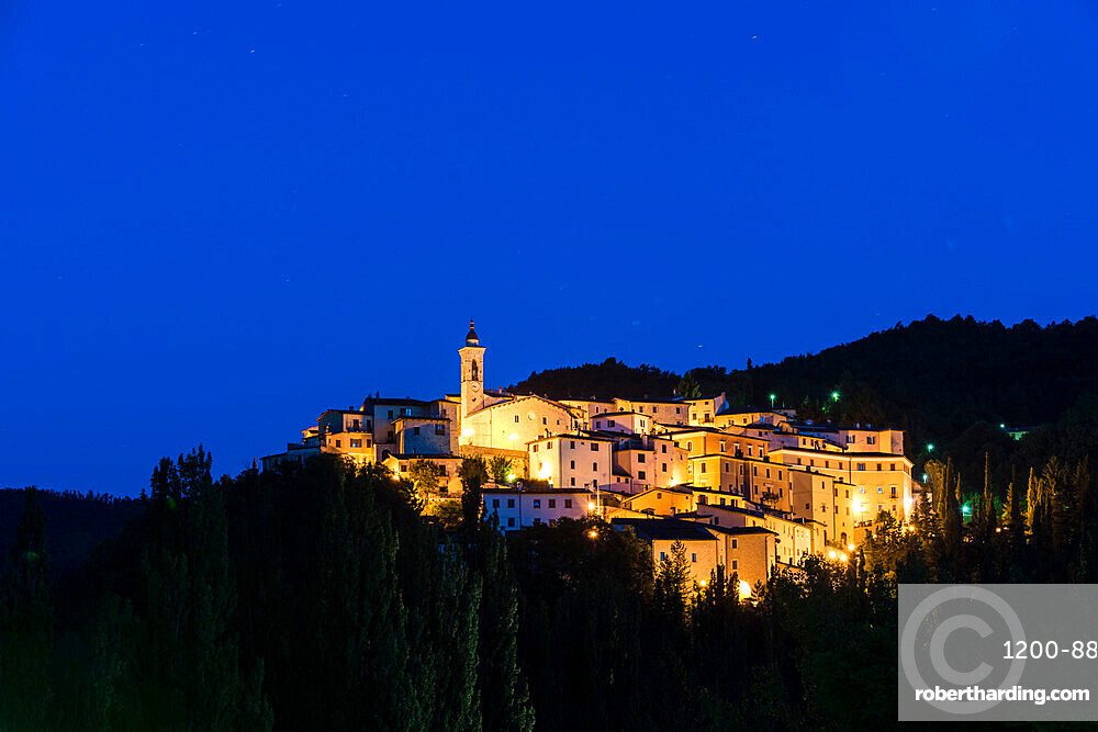 View of the village of Preci at dusk, Valnerina, Umbria, Italy, Europe