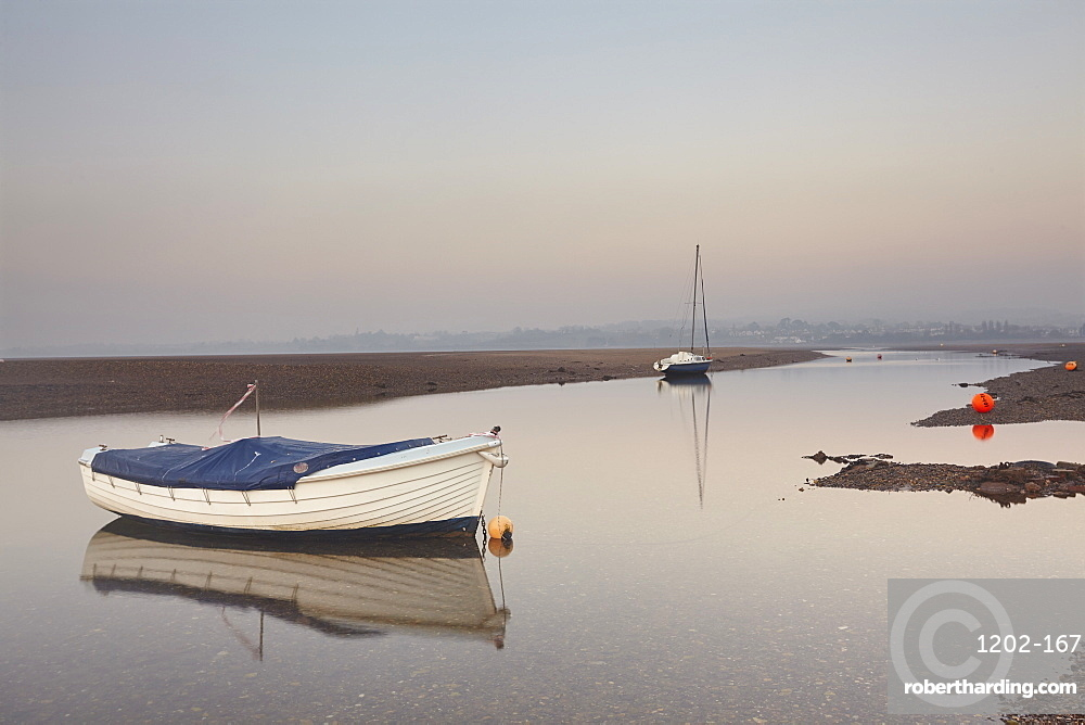 A peaceful calm evening view of the estuary of the River Exe at low tide, Exmouth, Devon, England, United Kingdom, Europe