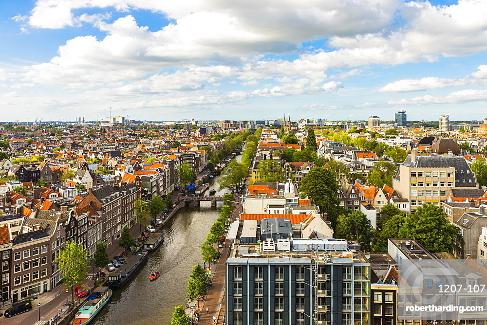 View of Prinsengracht Canal, Amsterdam, Netherlands, Europe