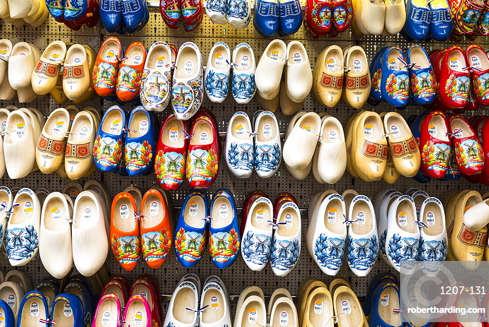 Clogs for sale in Bloemenmarkt, Amsterdam, Netherlands, Europe