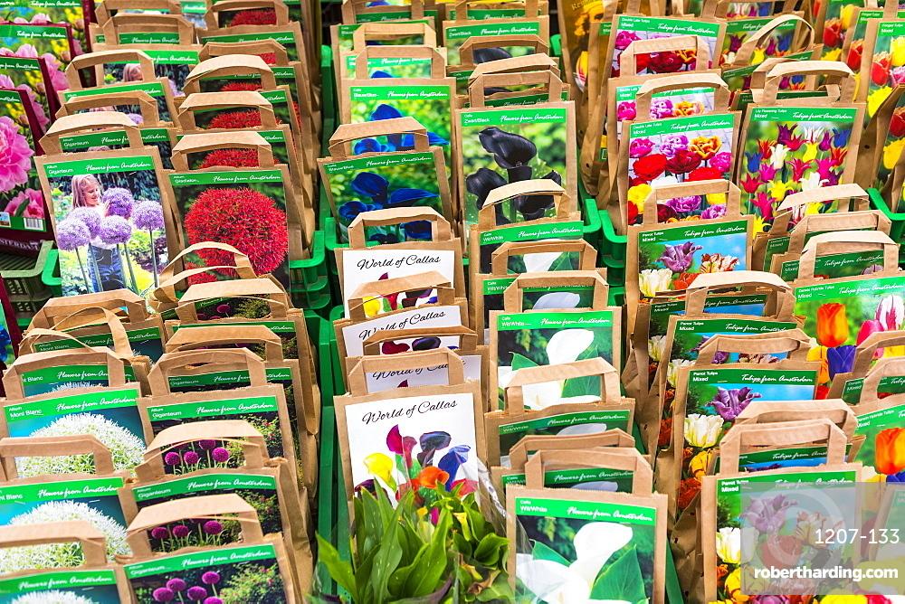 Flower seeds for sale in Bloemenmarkt, Amsterdam, Netherlands