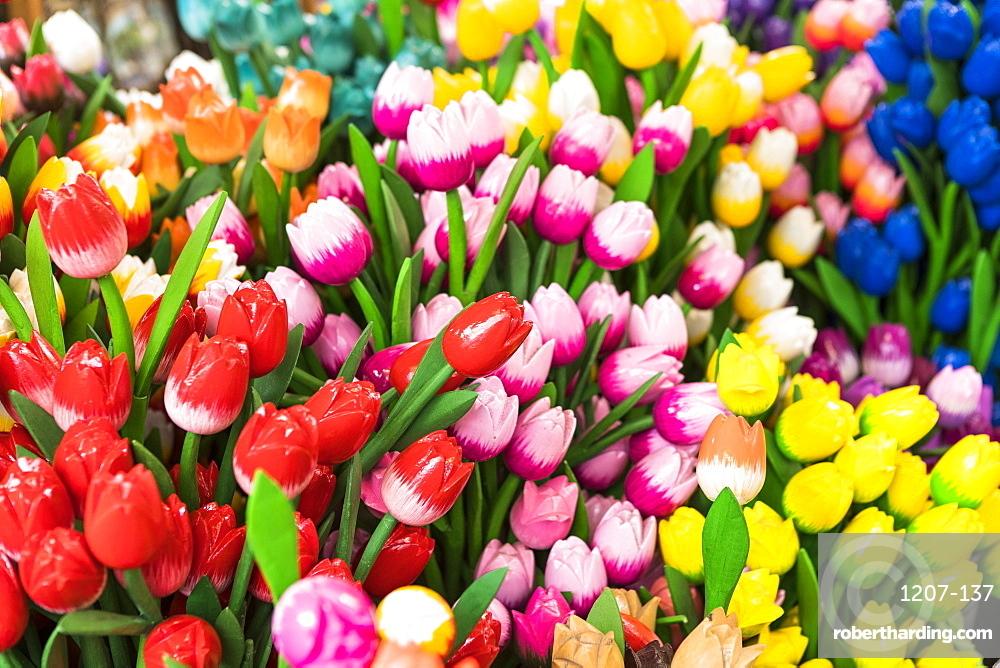 Wooden flowers for sale in Bloemenmarkt, Amsterdam, Netherlands