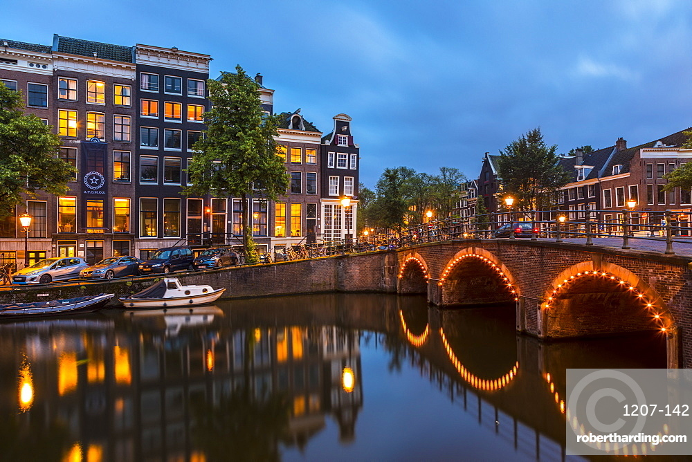 A bridge over the Keizersgracht canal, Amsterdam, Netherlands