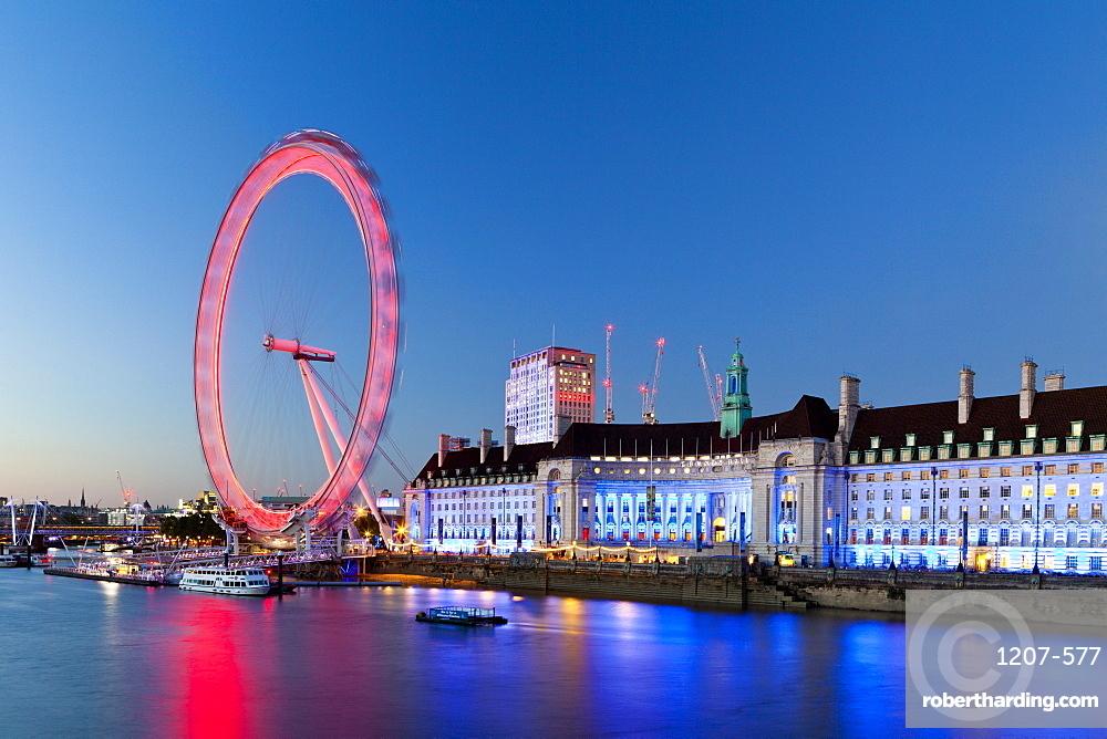 London Eye at sunset in London, England, Europe