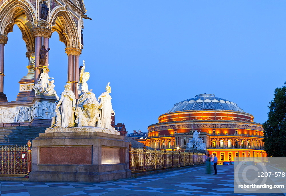 The Albert Memorial and Albert Hall in early evening light, London, England, United Kingdom, Europe
